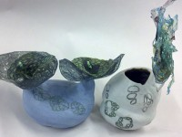 etching decal - ceramic pots with tar gel etchings