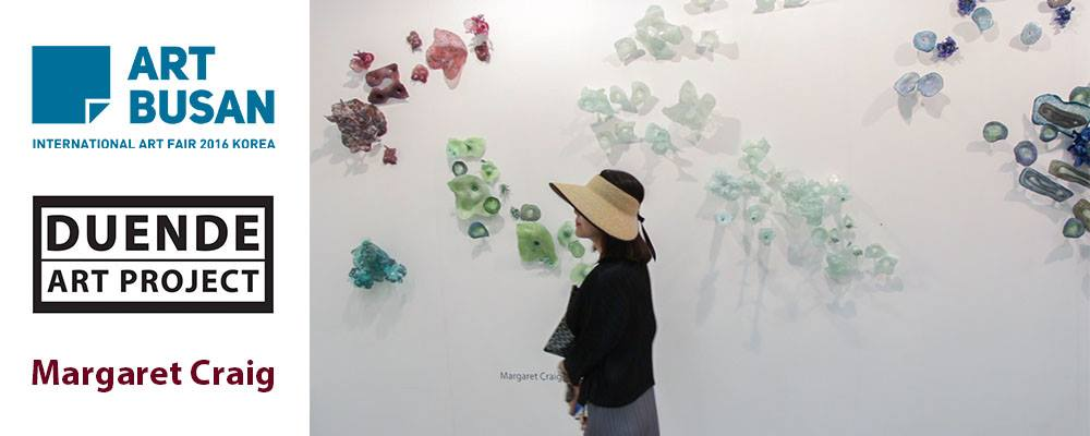 Duende Art Project Exhibit, Art Busan 2016, Busan, South Korea. Margaret Craig's Reef Flowers in background.